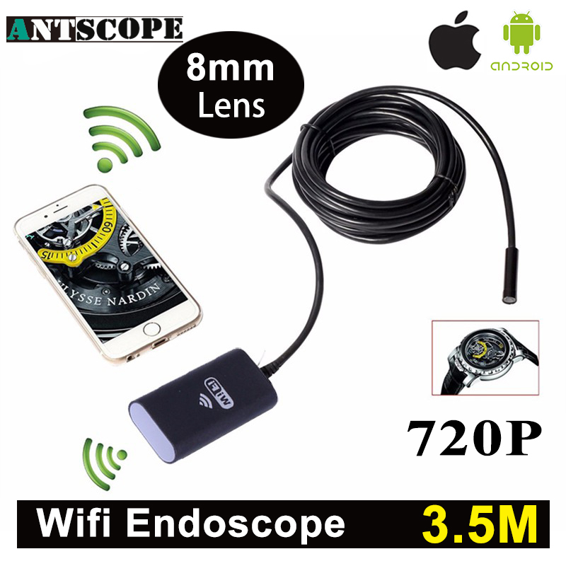 Antscope Wifi Iphone Endoscope Camera 3.5M Android Iphone Boroscope 720P Camera Endoscopio Android iOS Borescope Camera 45 wifi 4 9mm lens ear nose medical usb endoscope borescope inspection otoscope camera for ios android pc