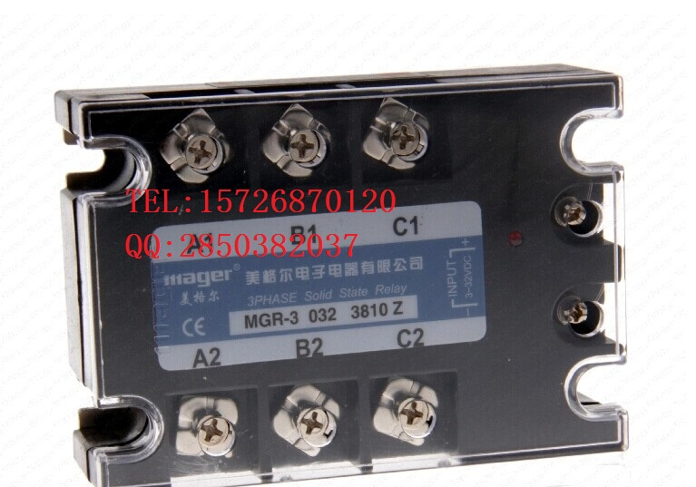 mager MGR-3 032 38100 Z 100A three-phase solid state relay DC-AC control free shipping 1pc high quality 100a mager ssr mgr 3 38100z ac ac three phase solid state relay ac control ac 100a 380v