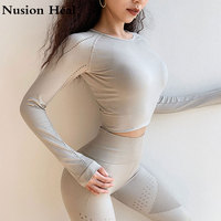 Women's Sports Yoga Shirts For Fitness Women Jersey Seamless Long Sleeve Gym Woman Shirt Yoga Top Female Workout Tops T shirts