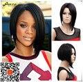Естественный U Часть Парик Рианна Черный Короткие Прямые Волосы Изюминкой Боб Парик для Чернокожих Женщин Афро-Американской синтетических парики