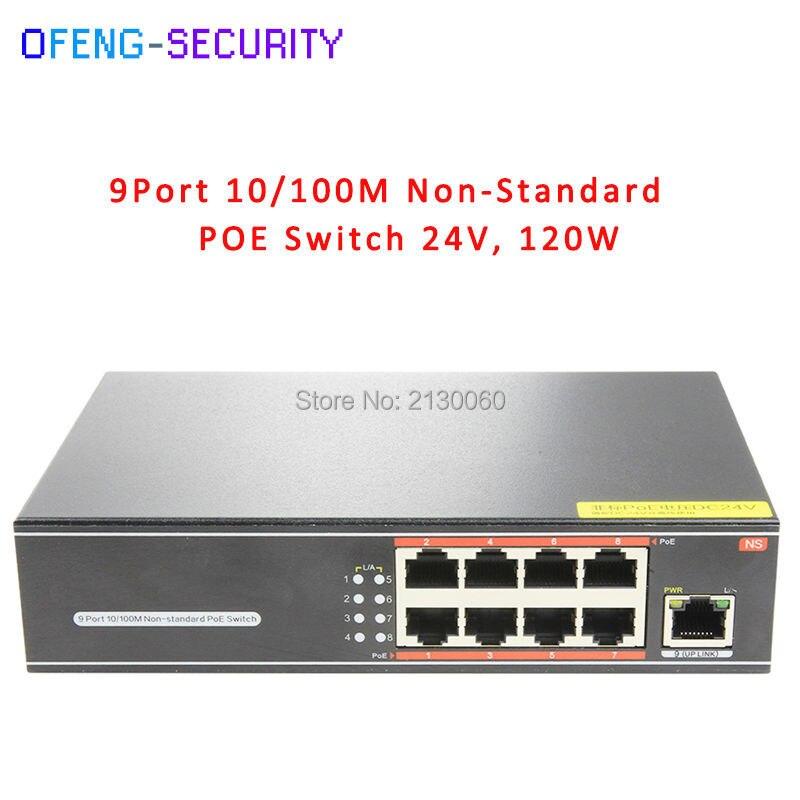 24V POE Switch, Non-Standard POE Switch, 8Port POE+1 Uplink, PoE Output 15.4W, Max Single Port 24W, Total 120W