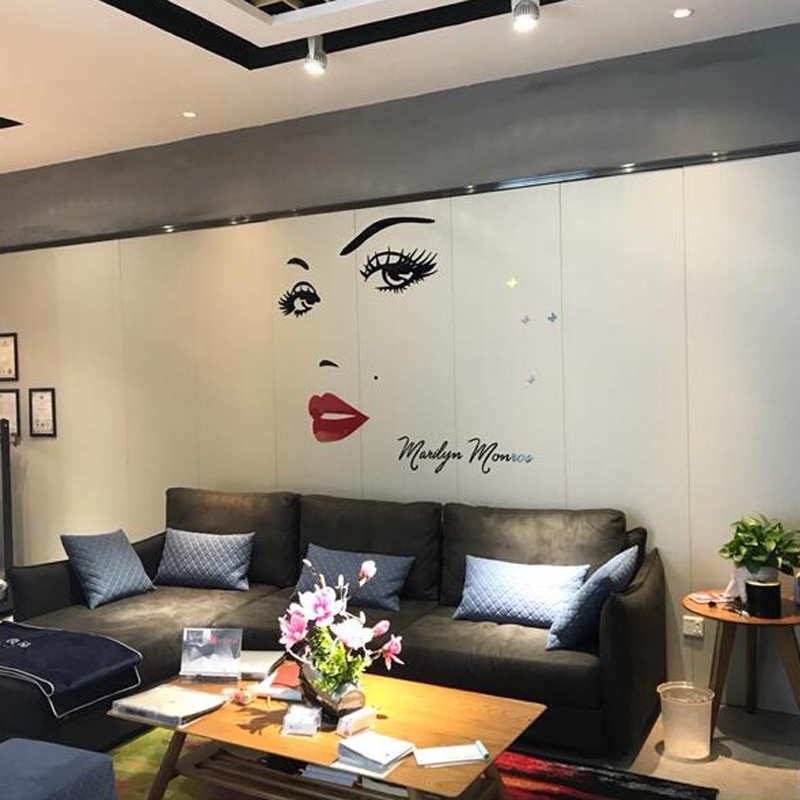 sexy living rooms room designs with brown leather furniture new monroe design acrylic stickers goddess wall sticker for girl s beauty shop decoration in from home garden on