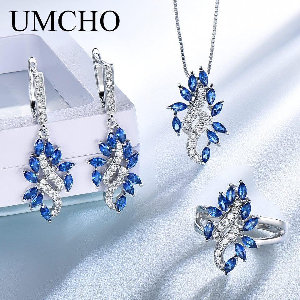 UMCHO élégant 925 en argent Sterling pendentifs collier anneaux boucles d'oreilles saphir ensembles de bijoux de mariage pour les femmes cadeau de mariage