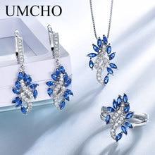 UMCHO Elegant 925 Sterling Silver Pendants Necklace Rings Earrings Sapphire Wedding Jewelry Sets For Women Wedding Gift цена в Москве и Питере