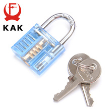 KAK Colorful Transparent Visible Pick Cutaway Mini Practice View Padlock Lock Training Skill For Locksmith Hardware With Box free shipping 9pcs transparent visible cutaway practice padlock door lock pick training skill for locksmith