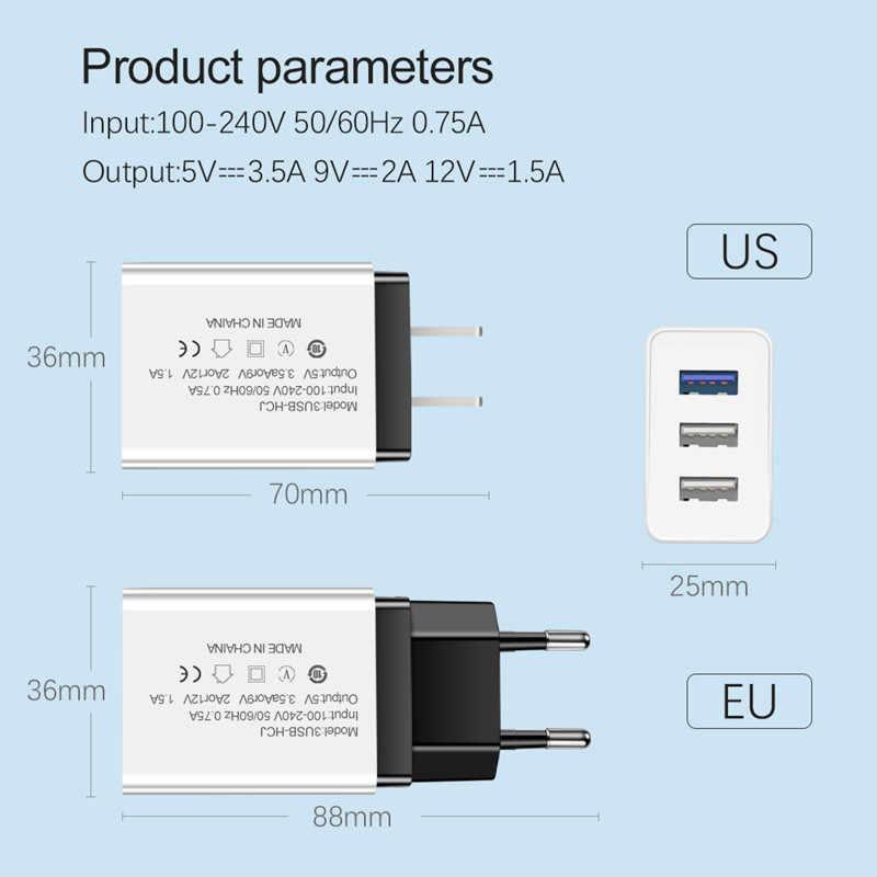 Cargador USB de 3 puertos cargador de pared de carga rápida cargador UE/EE. UU. Para iphone X Samsung Xiaomi Huawei adaptador de corriente USB