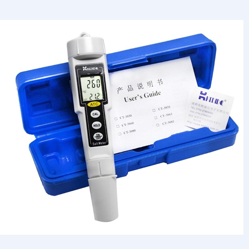 Stylo de poche Type salinité numérique compteur de sel précision 0 à 9999 mg/L ATC piscine Aquarium étanche salinomètre Test