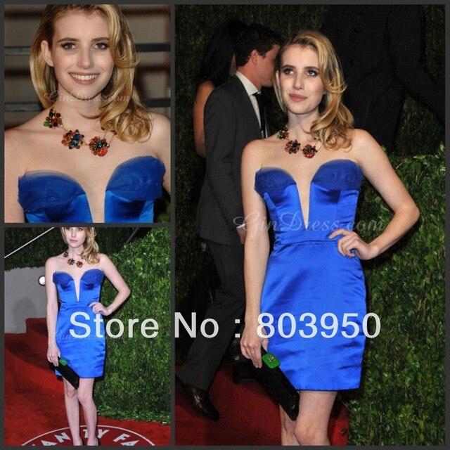 2014 Celebrity Dress New  sheath tank sweetheart satin shine strapless royer blue Prom Dress short with pleat Prom Dresses