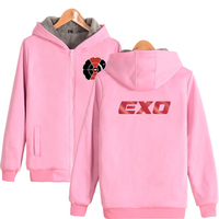EXO new zipper thick sweatshirt pattern printing casual hoodie thick double zipper fashion unisex hooded Sweatshir