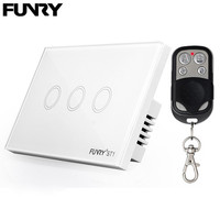 FUNRY US 3 Gang Smart Remote Control Touch Screen Switch Lamp Interruttore Wifi Wireless Home Automation