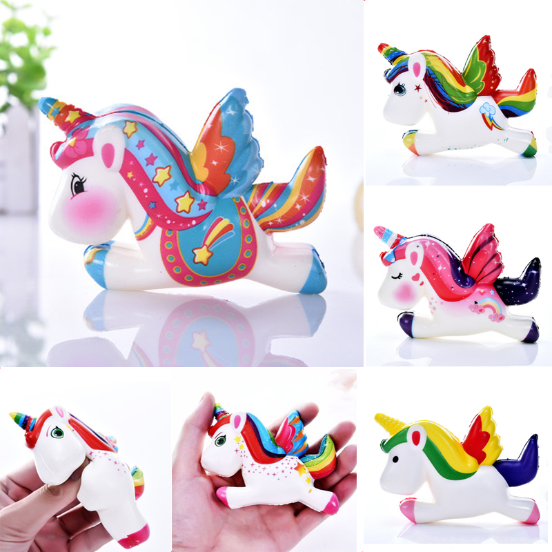 Style; Squishy Pegasus Unicorn Anti-stress Toys Children Squish Stress Relief Novelty Fun Practical Jokes Squeeze Toy Gift Phone Strap Fashionable In