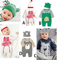 Newborn Baby Clothes Long  Sleeve Baby Boy Sets Cartoon Animals Costumes Rompers And Bebes Hat 2 Pcs Toddler Girl Clothing Sets