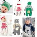 Recién nacido Ropa de Bebé de Manga Larga Baby Boy Sets de Dibujos Animados de Animales trajes Mamelucos Y Sombrero 2 Unids Muchacha Del Niño Ropa de Bebes conjuntos