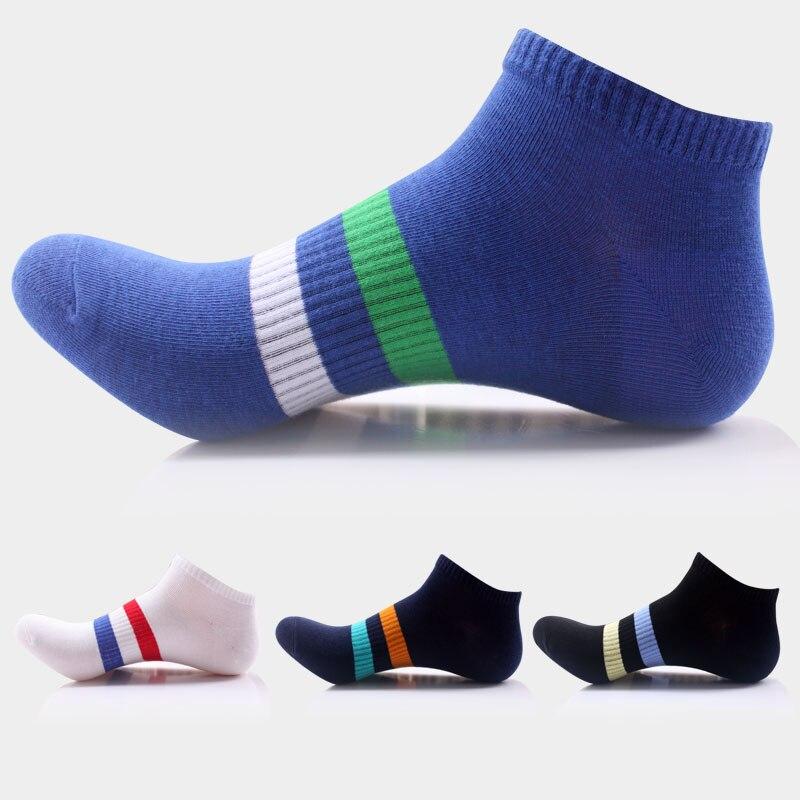 4pairs/lot brand cotton deporte socks men quick-dry socks elastic compression ankle sokken colorful strips boat sock black meias