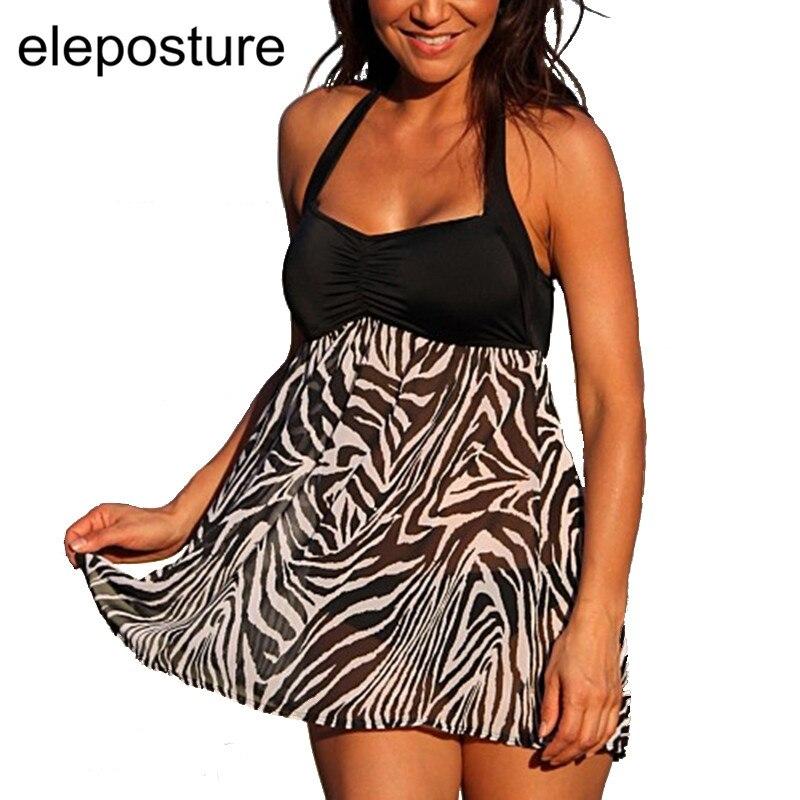 Zebra Striped Halter Strappy Tankini Swimsuits Women Swimwear Female Vintage Retro Bathing Suits Tankini With Skirt Tankini Set