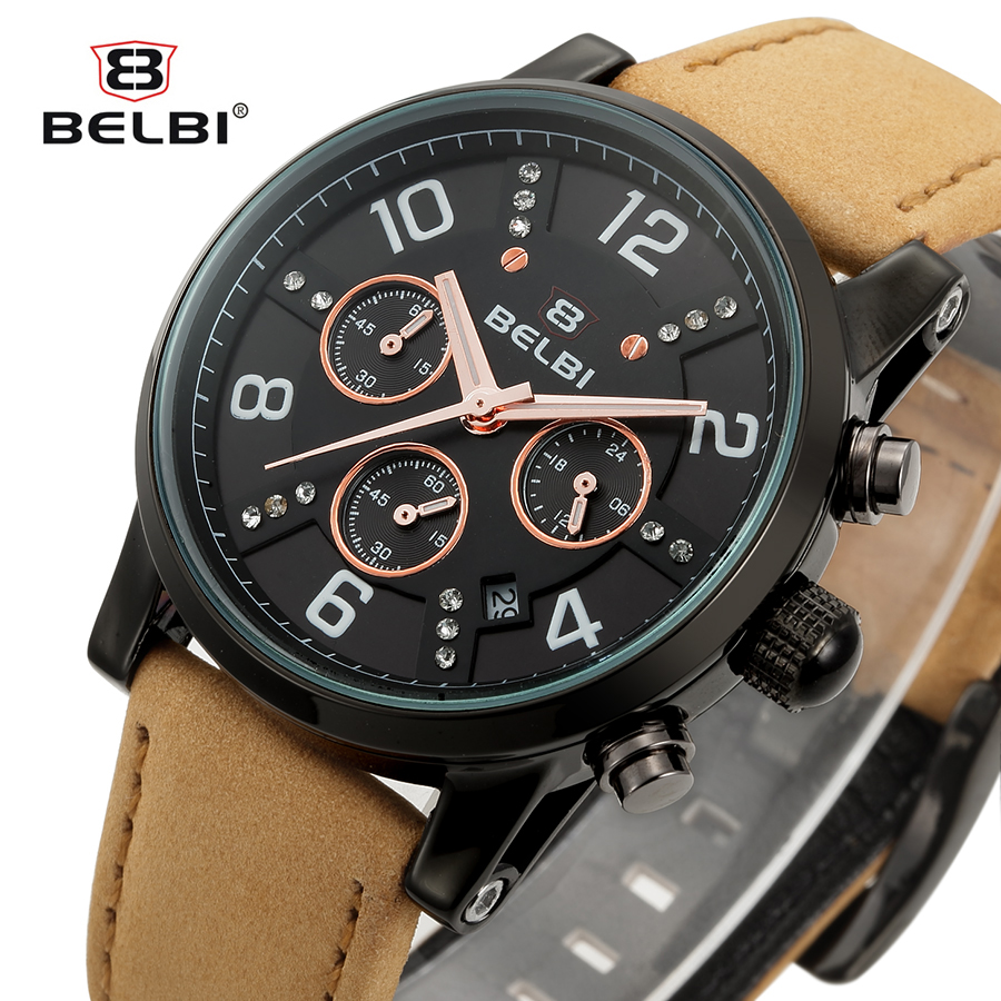 Belbi Chronograph Sport Men Watch Top Brand Luxury Calendar Leather Quartz Watches Male Military Fashion Date Wristwatch Relojes hubot elegant classic men s watch dates calendar classical art carved craft design chronograph men sport watches relogios