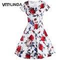 Vestlinda vintage dress dress v cuello estampado floral de verano elegante pin up una línea de vestidos de manga corta vestido de las mujeres midi vestidos