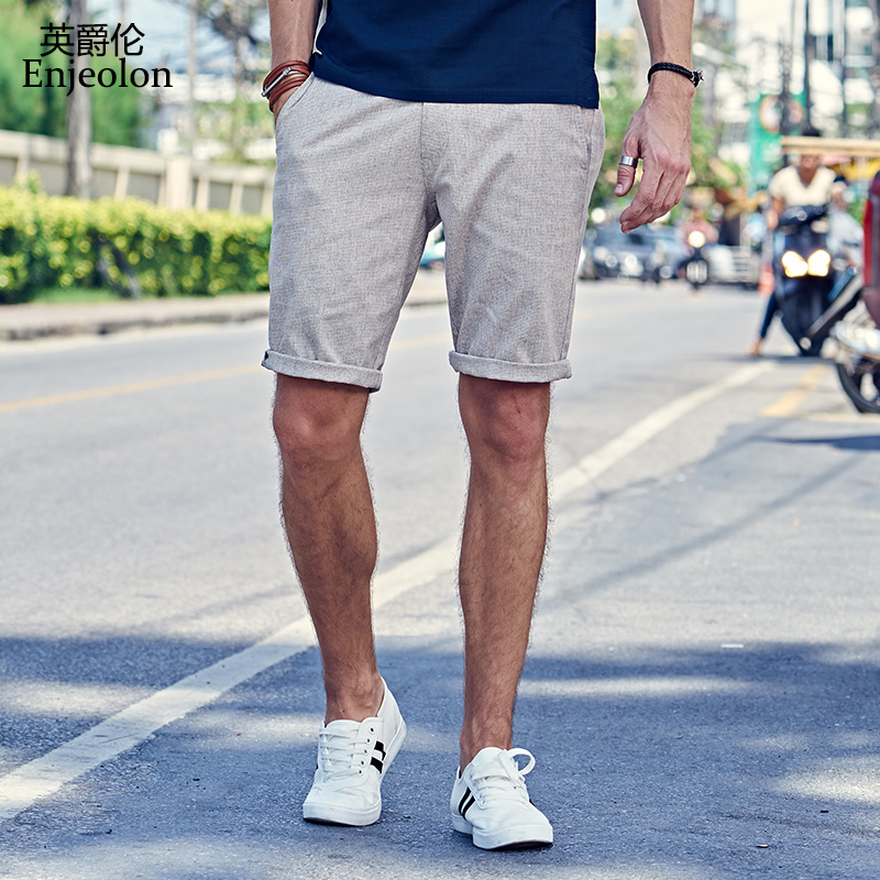 Enjeolon Summer Casual   Shorts   Men Cotton Sim solid 2 Color Available Knee length High Quality K6094