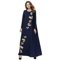 Plus Size 4XL Muslim Maxi Embroidery Dress Long Sleeve Robe Islamic Thobe Prayer Middle East Abaya Moroccan Worship Service