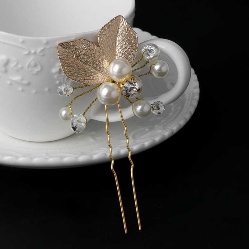 偽もの真珠ブライダルヘアピン葉ラインストーンヘアスティックボビーピンジュエリーウェディングヘアアクセサリーティアラ用女性haarspeld