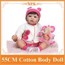 "NPK 22""55cm Reborn Baby Doll With Sticked Soft Wig Unique Benecas Bebe Reborn Best Christmas Birthday Gift Girl Brinquedos"
