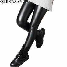 Демисезонный гетры для девочек для мальчиков и девочек узкие брюки-карандаш из искусственной кожи детские леггинсы Черные и темно-красные туфли