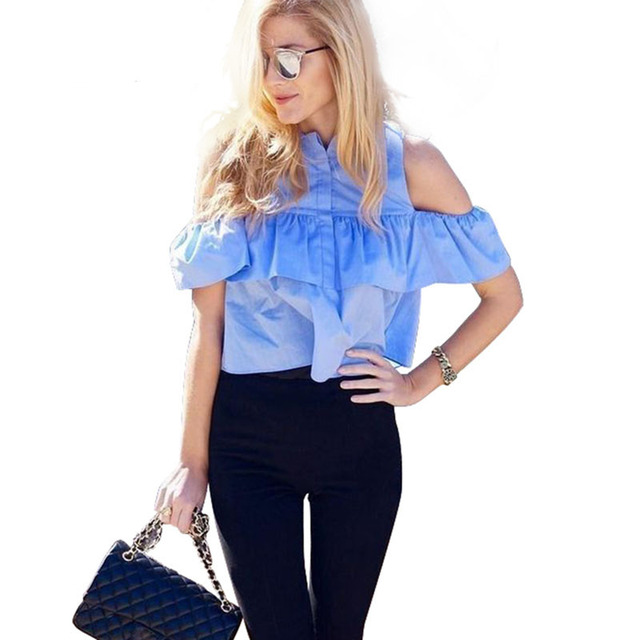 AZULINA 2017 Summer Women Casual Cold Shoulder Ruffles Blouse Shirts Turn Down Blue Casual Sexy Tops Chemise Femme Blusas Ladies