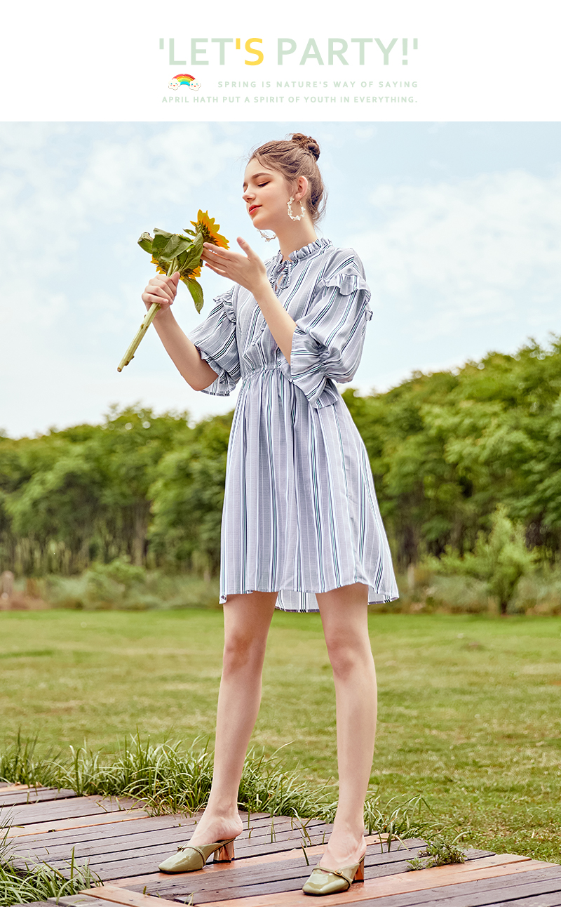 SEMIR women dress female 2018 autumn new retro striped dress loose thin dresses long flare sleeves clothing for woman 34