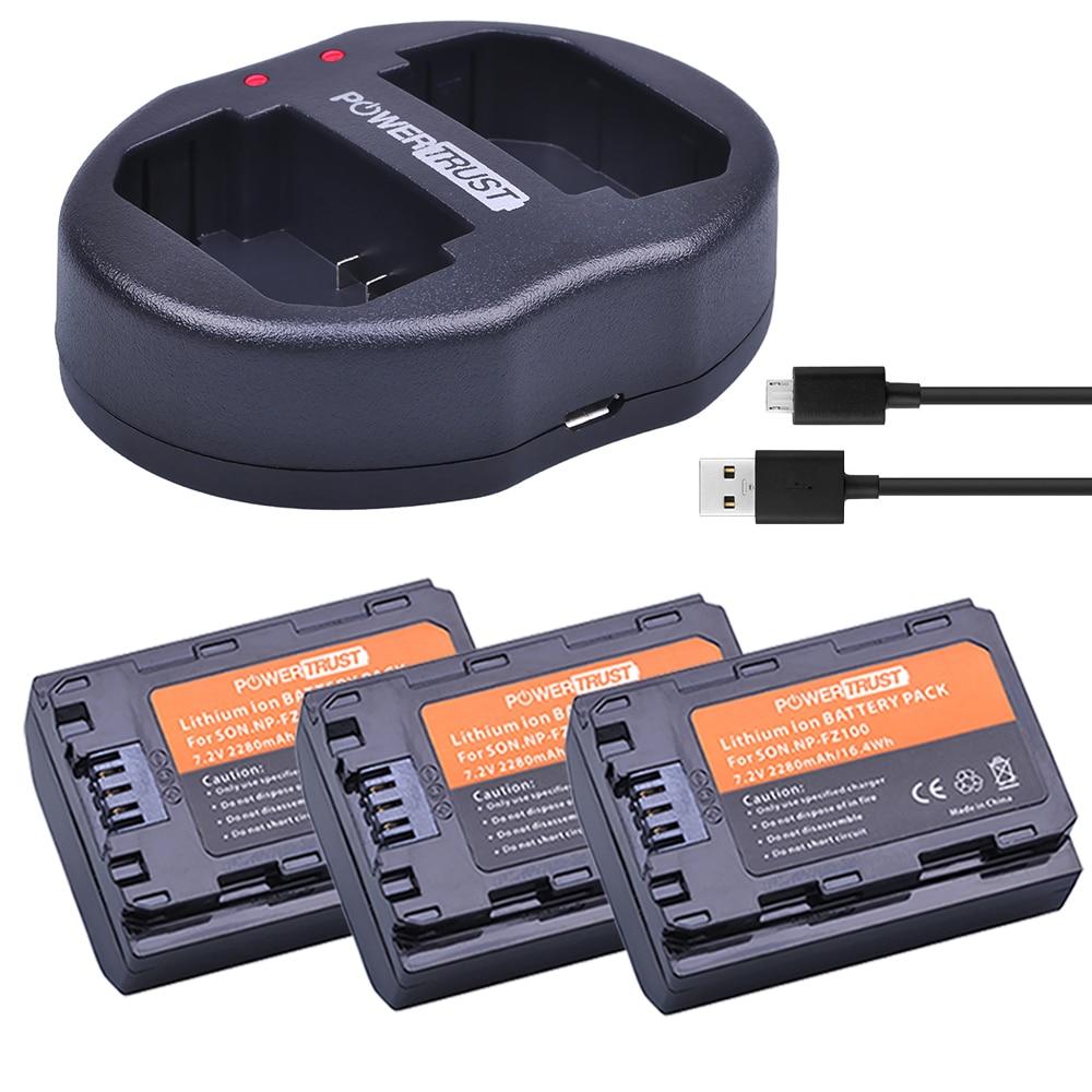 3x 2280mAh NP-FZ100 NPFZ100 NP FZ100 Battery + Dual USB Charger for Sony BC-QZ1 Alpha 9 9R A9R 9S ILCE-9 A7R A7 III ILCE-7M3 3x 2280mah np fz100 npfz100 np fz100 battery for sony a9 a9r 9s bc qz1 alpha 9 ilce 9 a7r ilce 7rm3 a7 iii ilce 7m3 ilce 7m3k