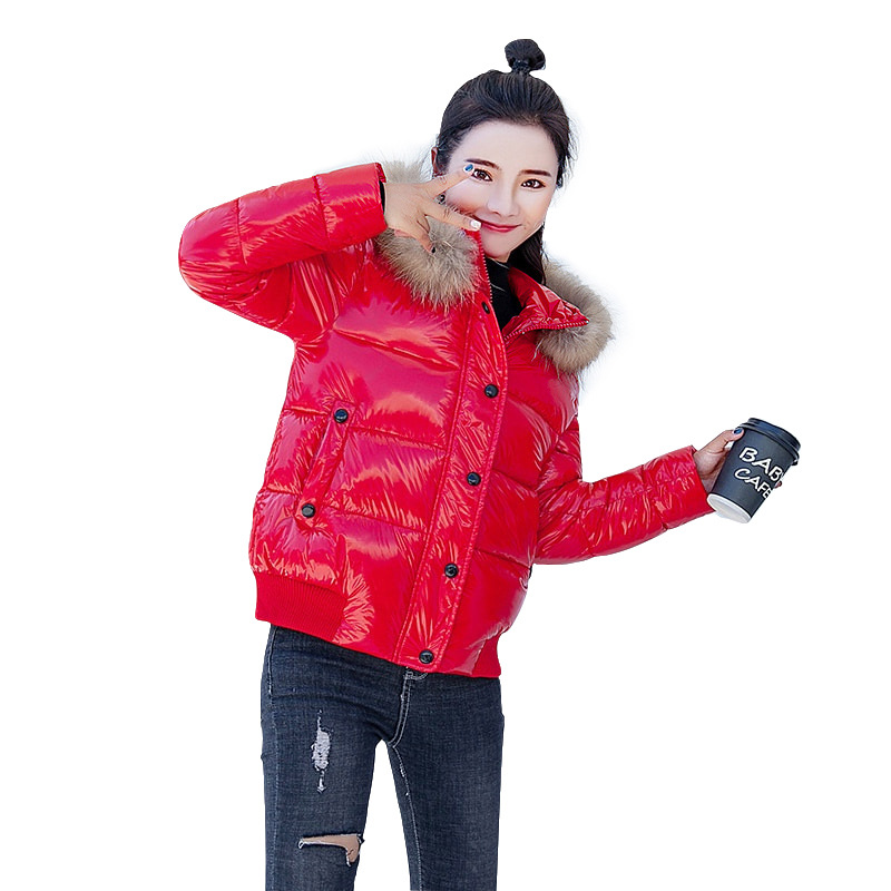 Winter Women   Parkas   Shiny Short Coat Hooded Warm Female Outerwear Students Jacket Padded Cotton Jackets