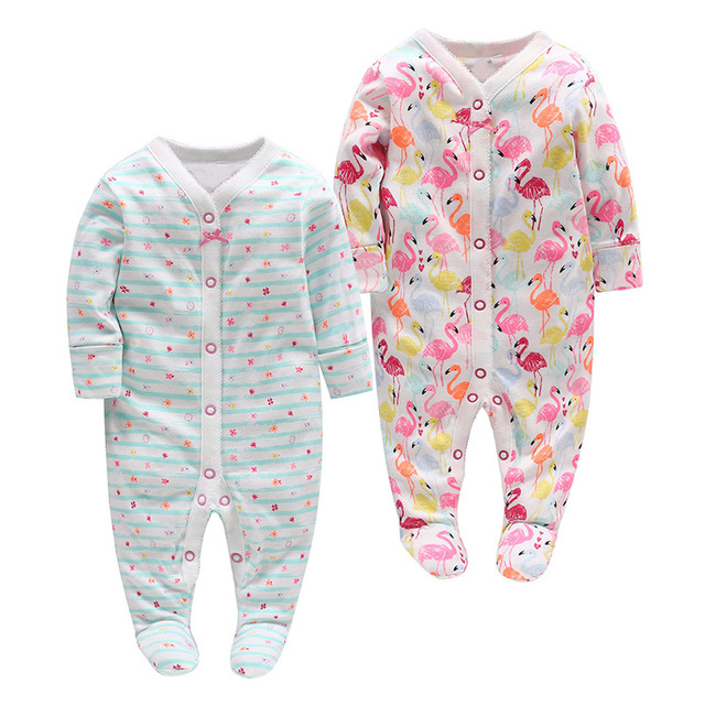 3139e89570df Picturesque Childhood newborn baby boy clothes 0-3 month Cotton Flamingo  Rompers Full of Little Birds Pajamas 102
