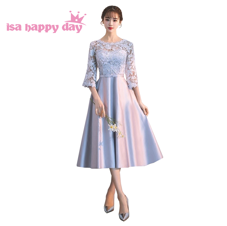Beautiful Girls Bridemaids Robe Princesse Gray Birthday Party Dresses For Adults Dress Satin Bridemaids With Sleeves H4262