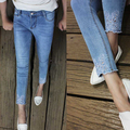 Denim seven pants women spring autumn vintage embroidery capris jeans pencil pants
