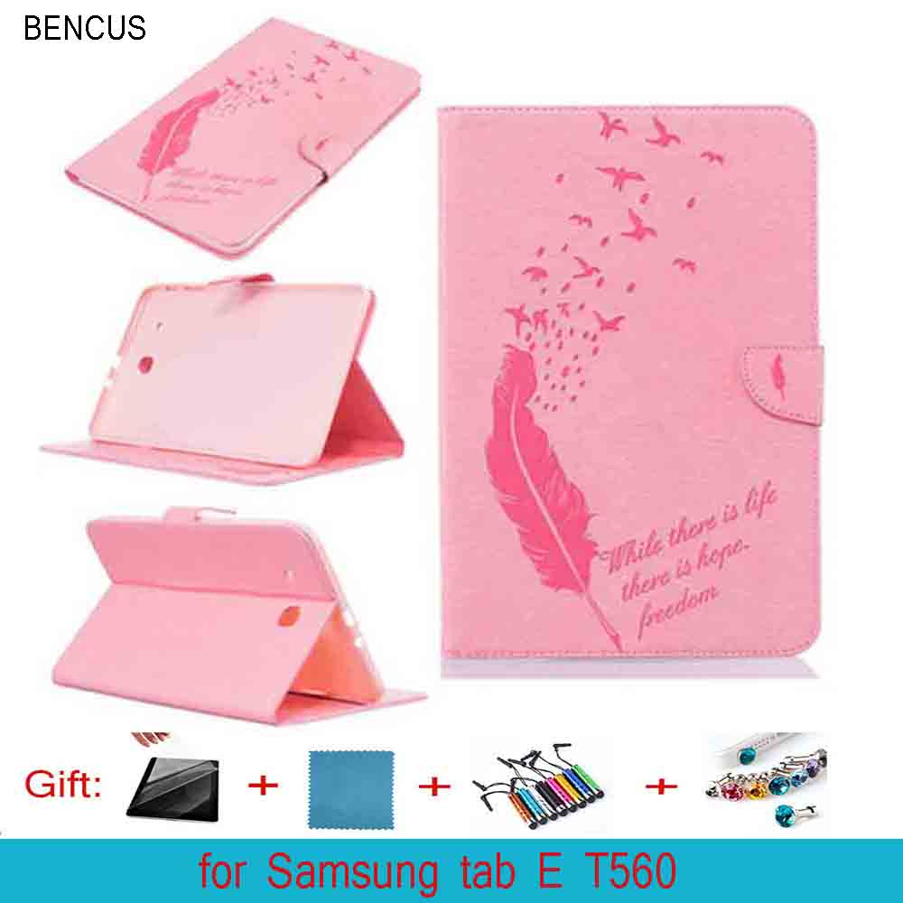 BENCUS SM-T560 crazy horse PU leather Cover stand Case for SAMSUNG Galaxy E 9.6 inch screen tablet T560 T561 SM-T561 model case