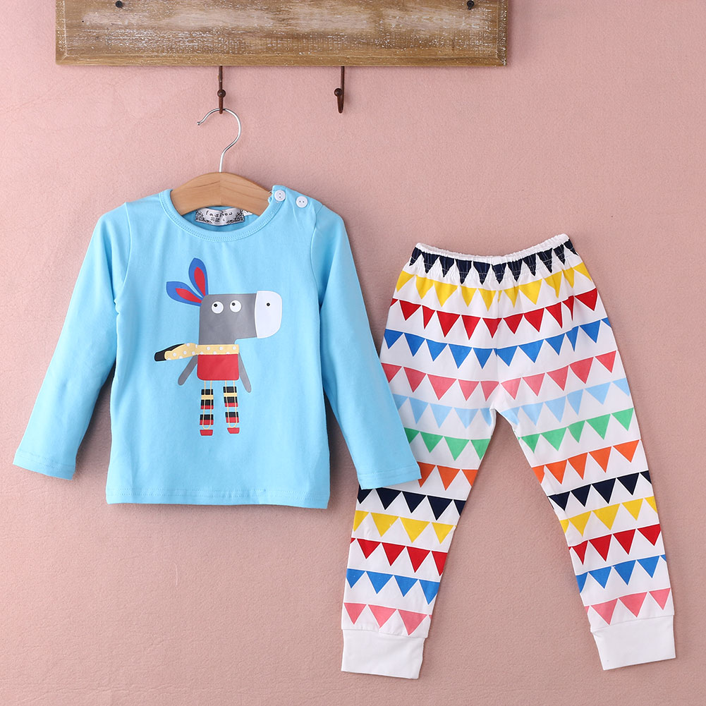 2015 Toddler Baby Girls Boy Long Sleeve Tops+Pants 2Pcs Outfits Set Nightwear Pyjamas