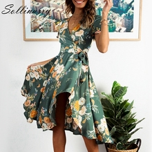 hot deal buy sollinarry wrap floral print casual women mid dress vestido floral 2019 spring summer bow ruffle dress elegant dresses vestidos