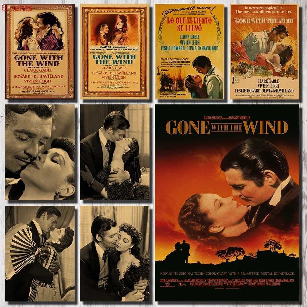 Classic Old Movie Poster Kraft Paper Marine Decoration Sticker Wall Sticker Retro Poster Movie Poster Vintage Wall Sticker