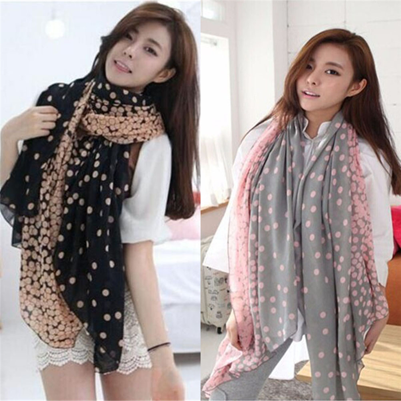 New 1Pcs 2 Styles Women Lady Spring Autumn Warm Soft Long Voile Neck Large Dots   Scarf     Wrap   Shawl Pink Grey Wholesale