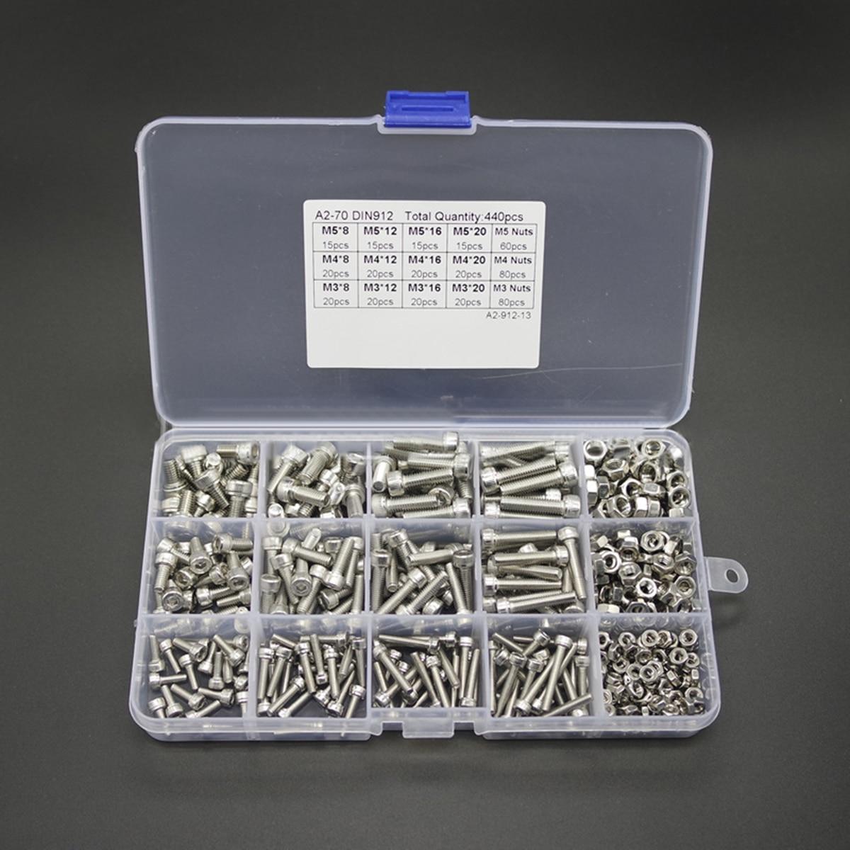 440pcs Stainless Steel Hex Socket Screws M3 M4 M5 Mayitr Button Head Bolts Nuts Kit with Plastic Box get ready for ielts workbook pre intermediate to intermediate ielts band 3 5 4 5