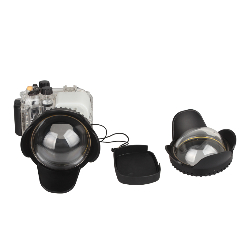 Meikon G16 Waterproof Underwater  Housing Case for Canon Power Shot G16 +  200mm Fisheye Wide Angle Lens Dome Port (67mm Round ) meikon 40m waterproof underwater camera housing case bag for canon 600d t3i