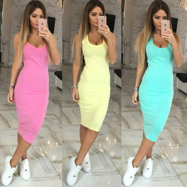 New Summer Sexy Women Casual Dress New Korean Style Girl Sleeveless Solid Candy Color Slim Basic Dresses vestidos