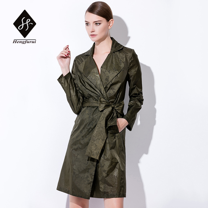 2017 Spring Women slim Thin Outerwear Casual Lapel Windbreaker Cape coat European Style High quality Brand women clothing N03
