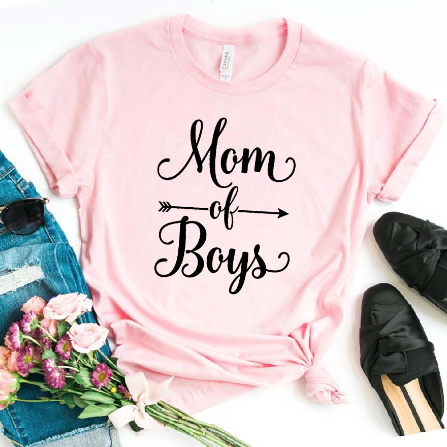 Mom Of Boys Print Women Tshirt Cotton Casual Funny T Shirt For Lady Girl Top Tee Hipster Drop Ship NA-7936