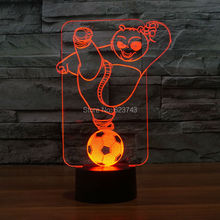 8pcs/lot 7 Color changing 3D Flashing Kung Fu Panda Acrylic LED Bear Night Light with USB power multicolor table Lamp of LEDS