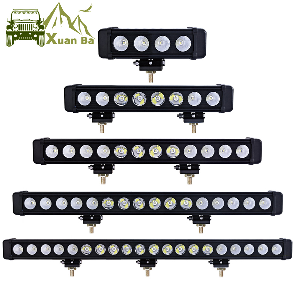 XuanBa 10W/Pcs Led Light Bar Car External Light 12V Led Bar Offroad 4x4 SUV ATV Truck Tractor Spotlight Led Work Driving Lights