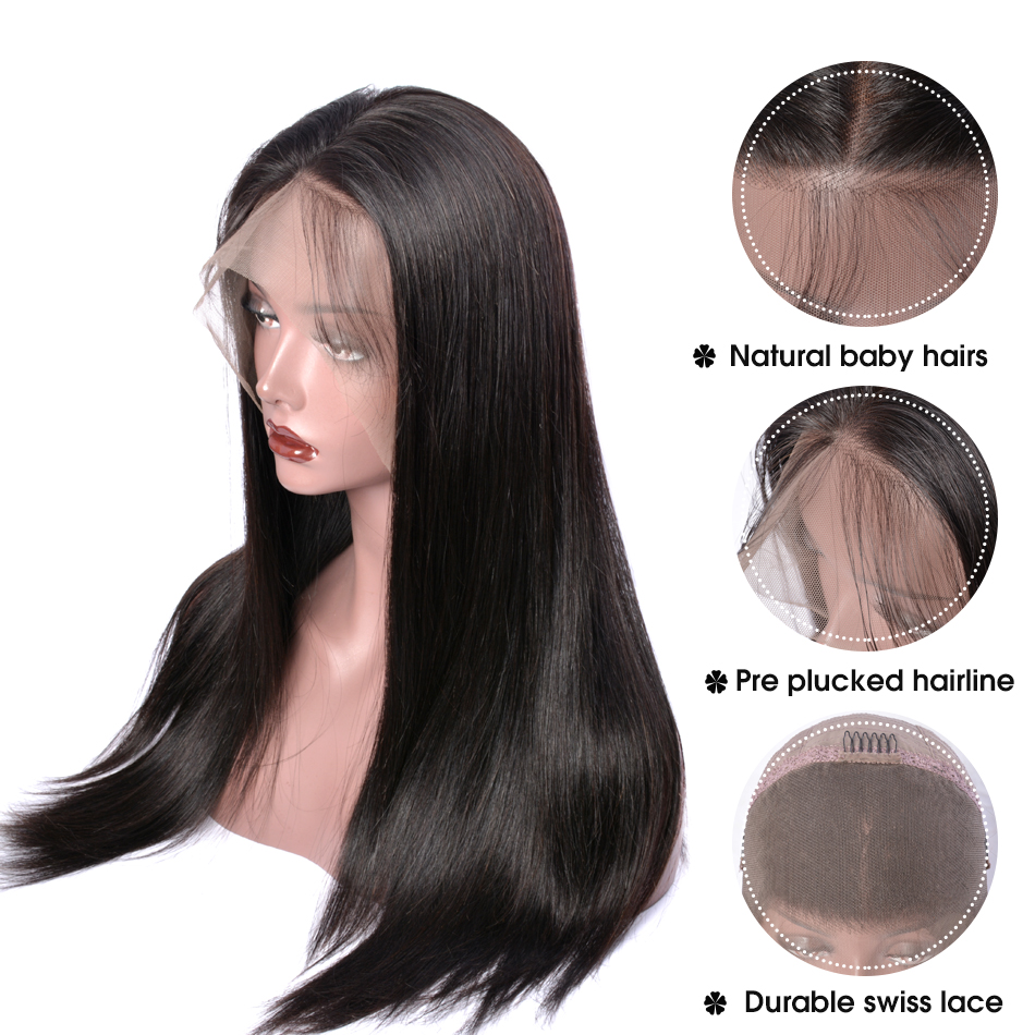 Image 4 - 360 Lace Frontal Wig Peruvian Straight Hair Pre Plucked With Baby Hair Remy Lace Front Human Hair Wigs 150 Density Sunlight Hair-in Human Hair Lace Wigs from Hair Extensions & Wigs