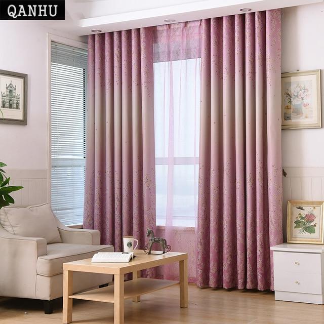 qanhu veil on the windows printing curtain gardinen modern room curtains in the living room rideau - Gardinen Modern