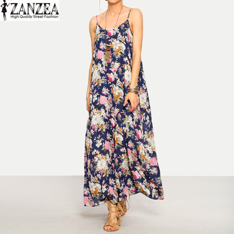 ZANZEA 2019 Summer Womens Sexy sans manches Strappy Floral Beach Party Casual Maxi Robe Longue Robe d'été