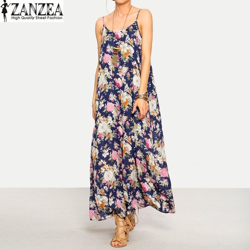 Zanzea 2017 verano atractivo de las mujeres sin mangas con tirantes floral beach
