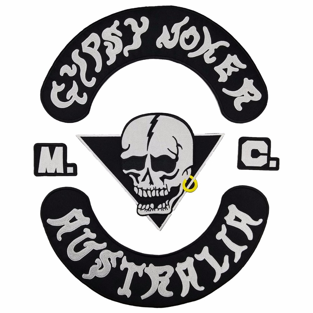 Fashion GYPSY JOKER AUSTRALIA MC Club Biker Vest Embroidered Patch Iron On Full Back of Jacket Motorcyle Patches Free Shipping